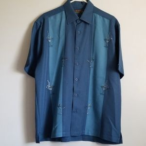 Cubavera Blue Martini Embroidered Shirt